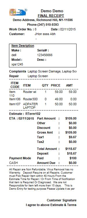 Receipt for Repair store software
