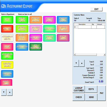 Restaurant point of sale touch screen  software